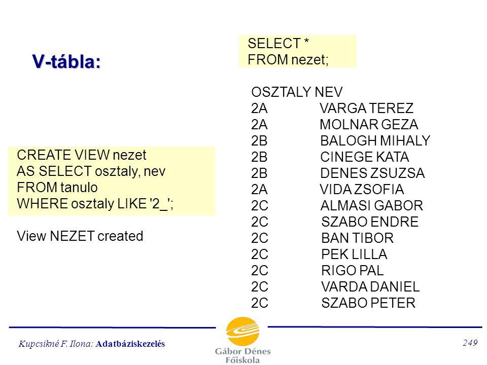 V-tábla: SELECT * FROM nezet; OSZTALY NEV 2A VARGA TEREZ