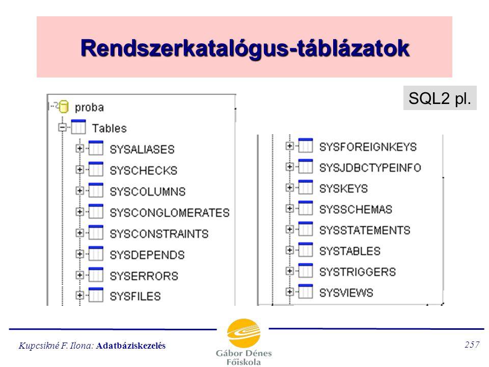 Rendszerkatalógus-táblázatok