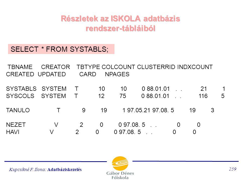 Részletek az ISKOLA adatbázis rendszer-tábláiból