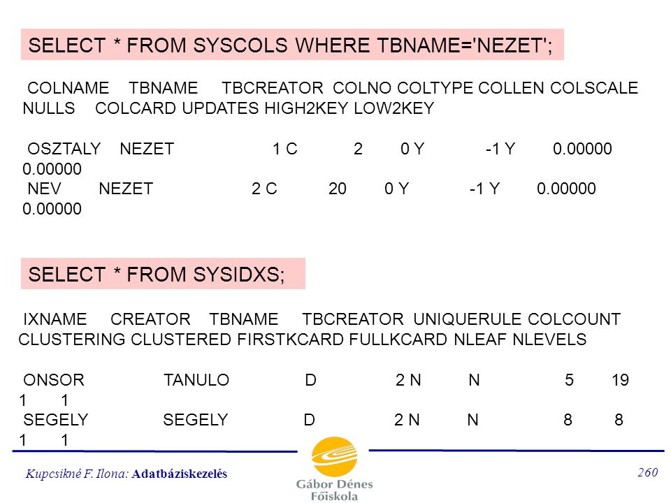 SELECT * FROM SYSCOLS WHERE TBNAME= NEZET ;