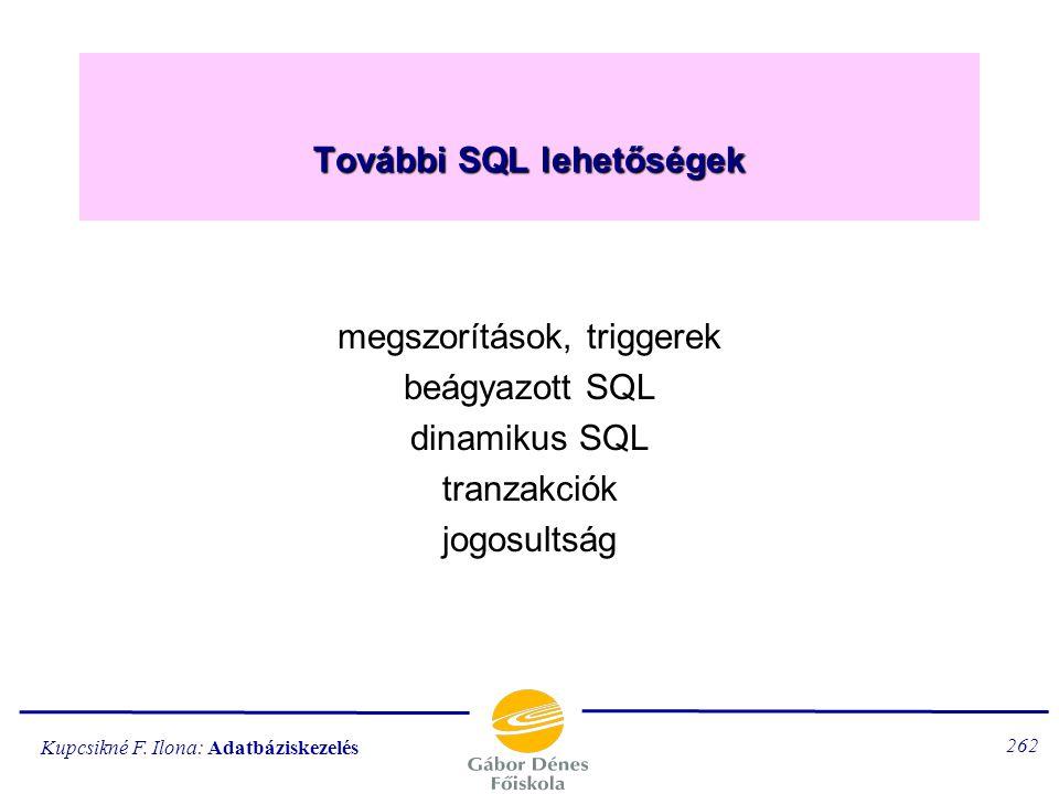 További SQL lehetőségek
