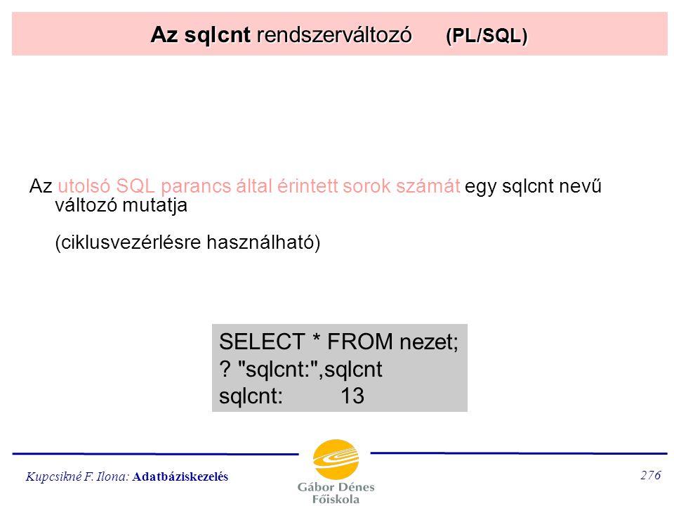 Az sqlcnt rendszerváltozó (PL/SQL)