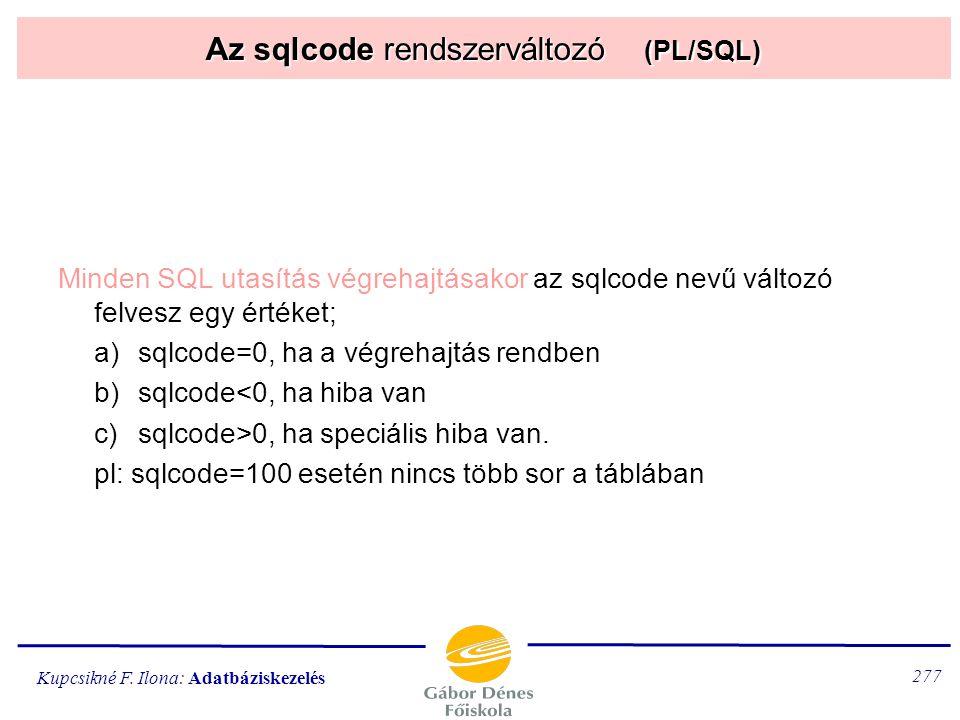 Az sqlcode rendszerváltozó (PL/SQL)