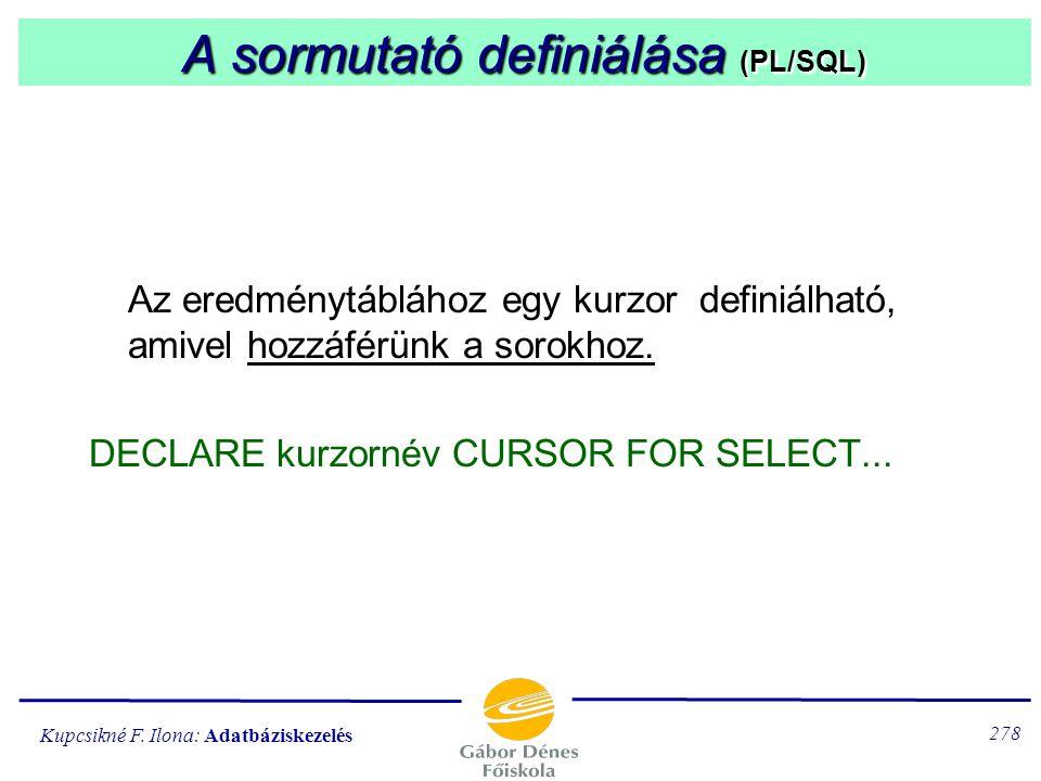 A sormutató definiálása (PL/SQL)