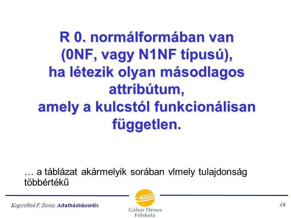 R 0. normálformában van (0NF, vagy N1NF típusú), ha létezik olyan másodlagos attribútum, amely a kulcstól funkcionálisan független.