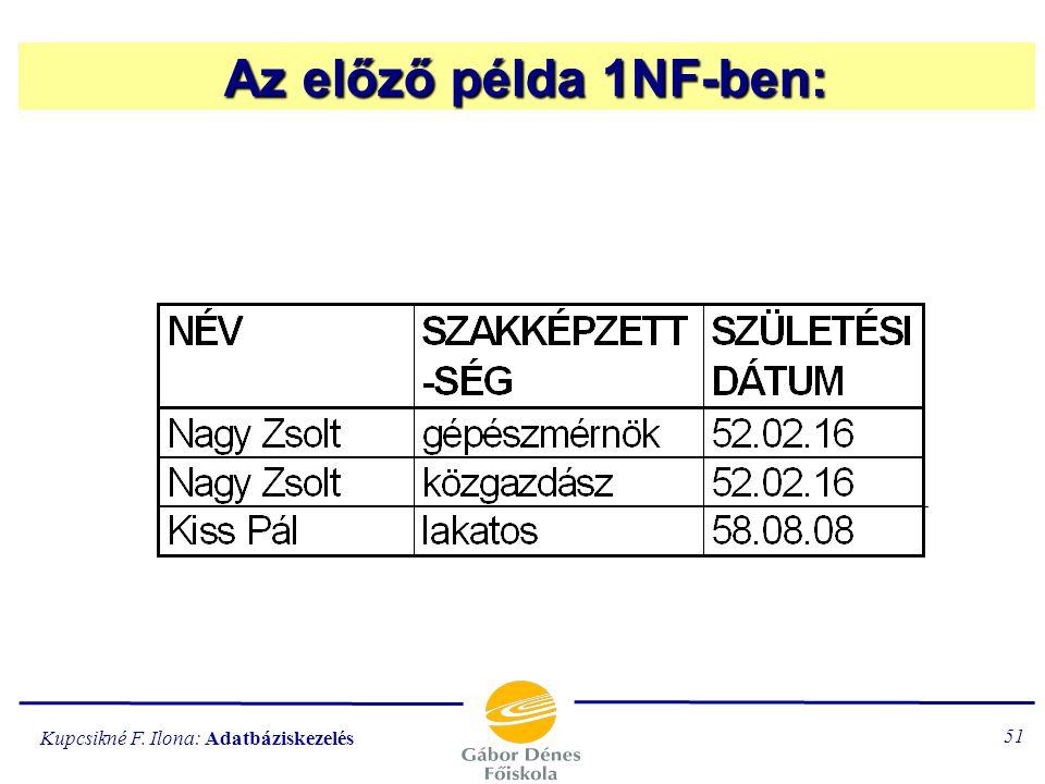 Az előző példa 1NF-ben: