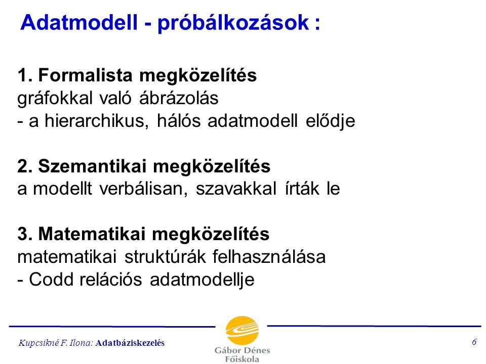 Adatmodell - próbálkozások :