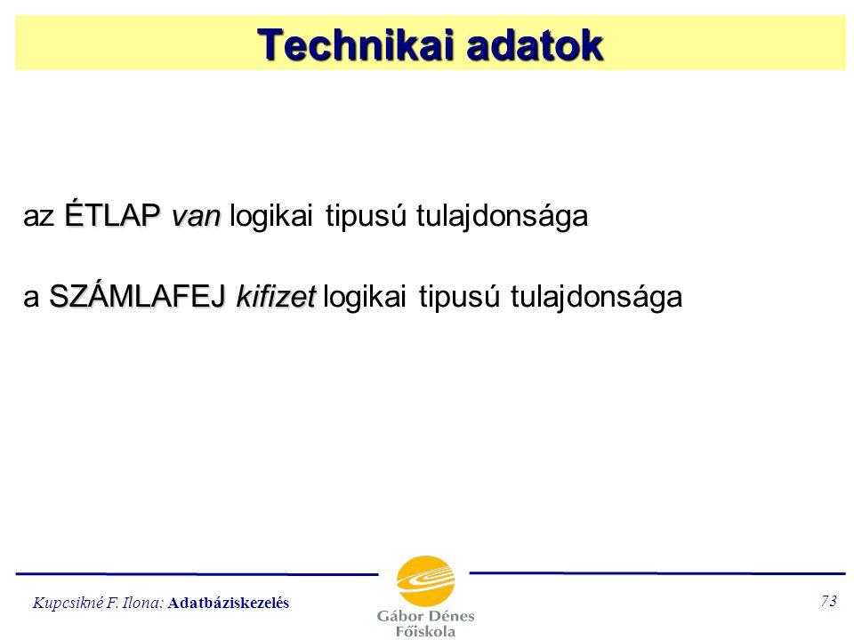Technikai adatok az ÉTLAP van logikai tipusú tulajdonsága