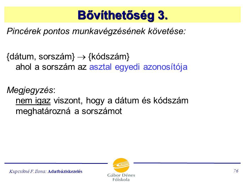 Bővíthetőség 3. Pincérek pontos munkavégzésének követése: