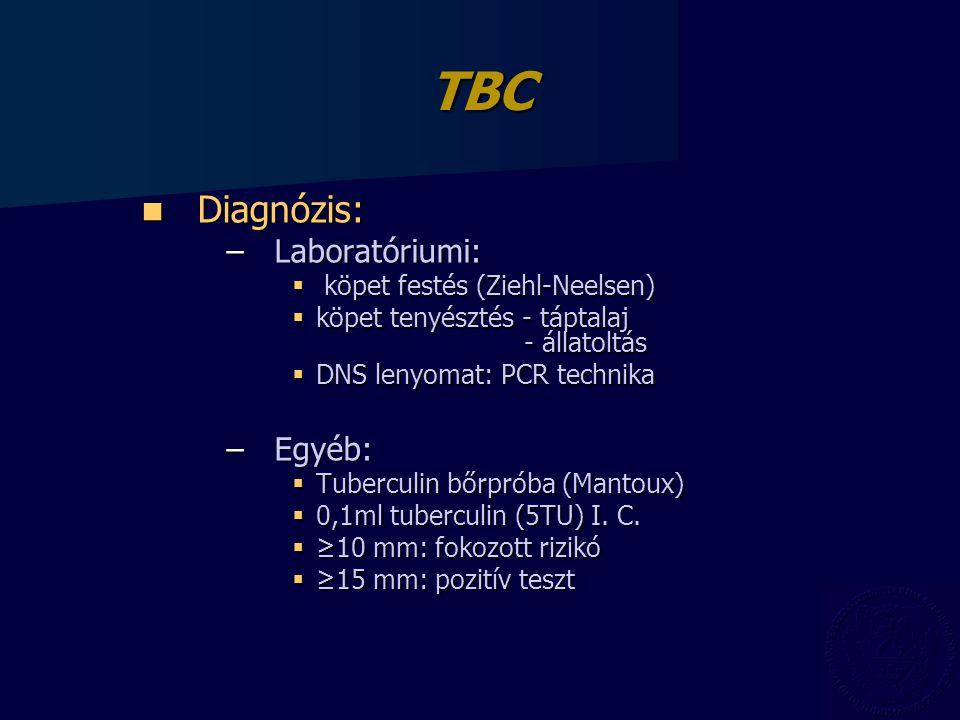 TBC Diagnózis: Laboratóriumi: Egyéb: köpet festés (Ziehl-Neelsen)
