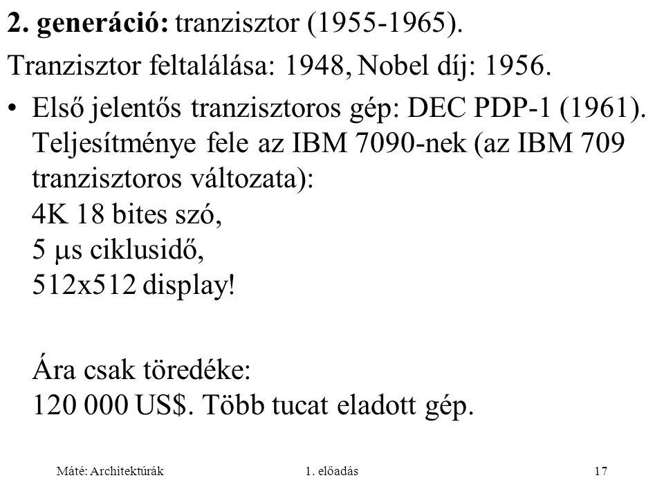 2. generáció: tranzisztor (1955-1965).