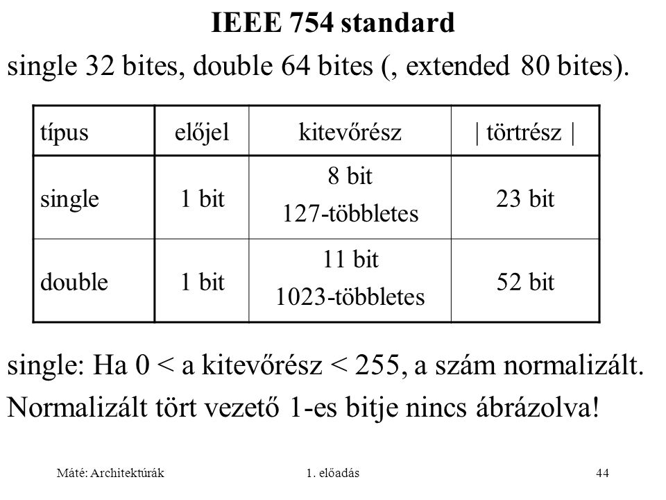 single 32 bites, double 64 bites (, extended 80 bites).