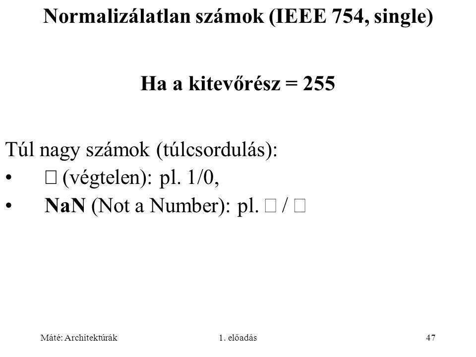 Normalizálatlan számok (IEEE 754, single)