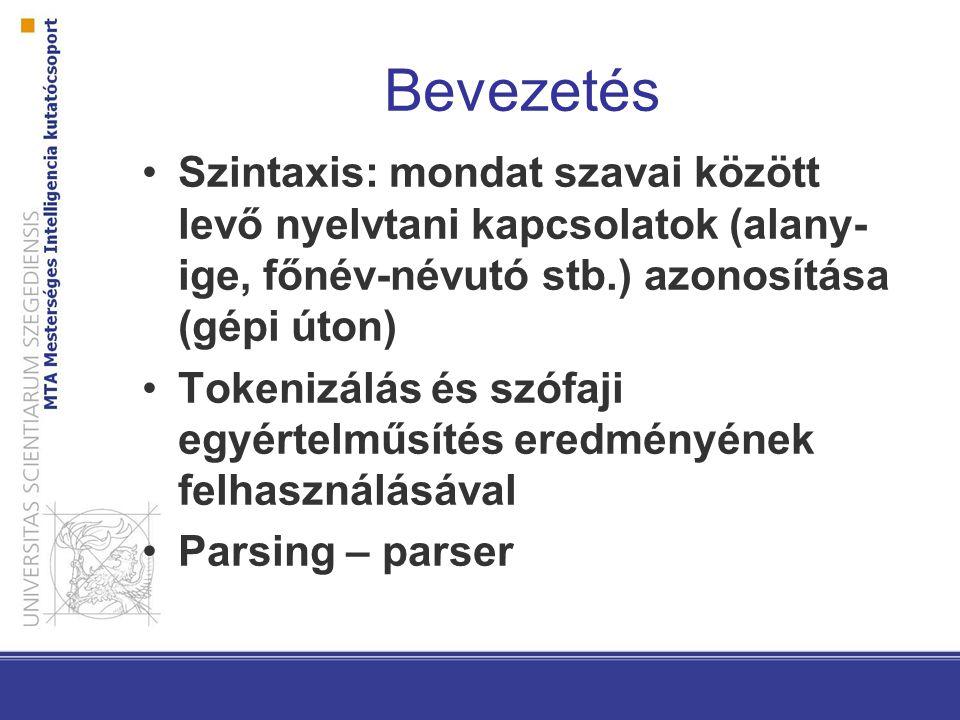 Bevezetés Szintaxis: mondat szavai között levő nyelvtani kapcsolatok (alany-ige, főnév-névutó stb.) azonosítása (gépi úton)