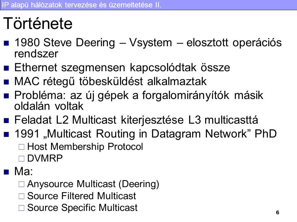Története 1980 Steve Deering – Vsystem – elosztott operációs rendszer