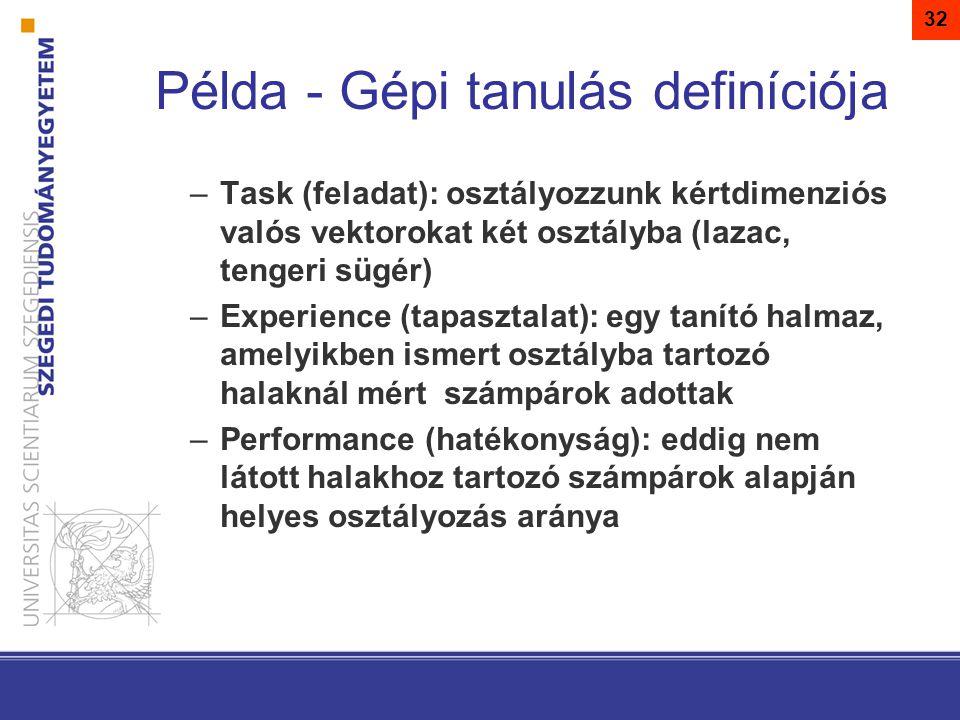 Példa - Gépi tanulás definíciója