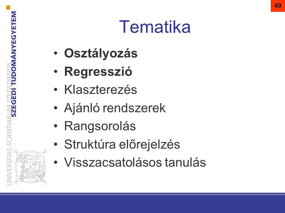 Tematika Osztályozás Regresszió Klaszterezés Ajánló rendszerek