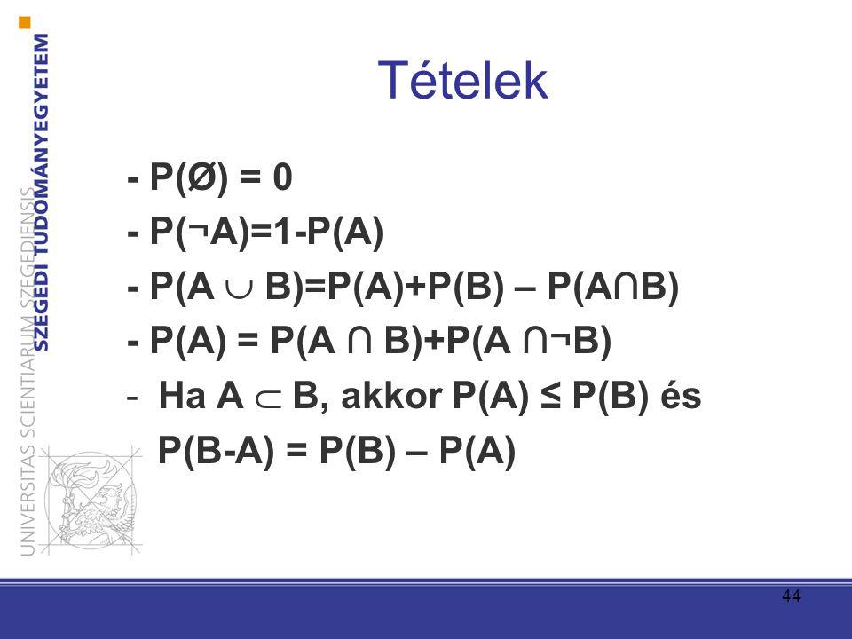 Tételek - P(Ø) = 0 - P(¬A)=1-P(A) - P(A  B)=P(A)+P(B) – P(A∩B)