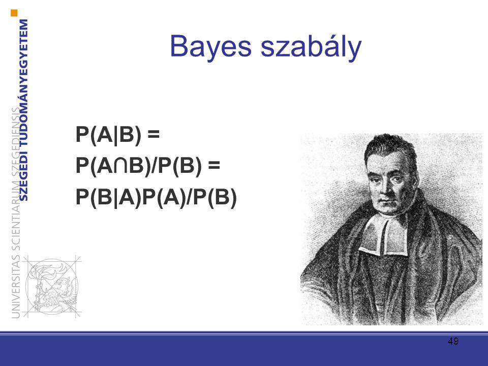 Bayes szabály P(A|B) = P(A∩B)/P(B) = P(B|A)P(A)/P(B) 49
