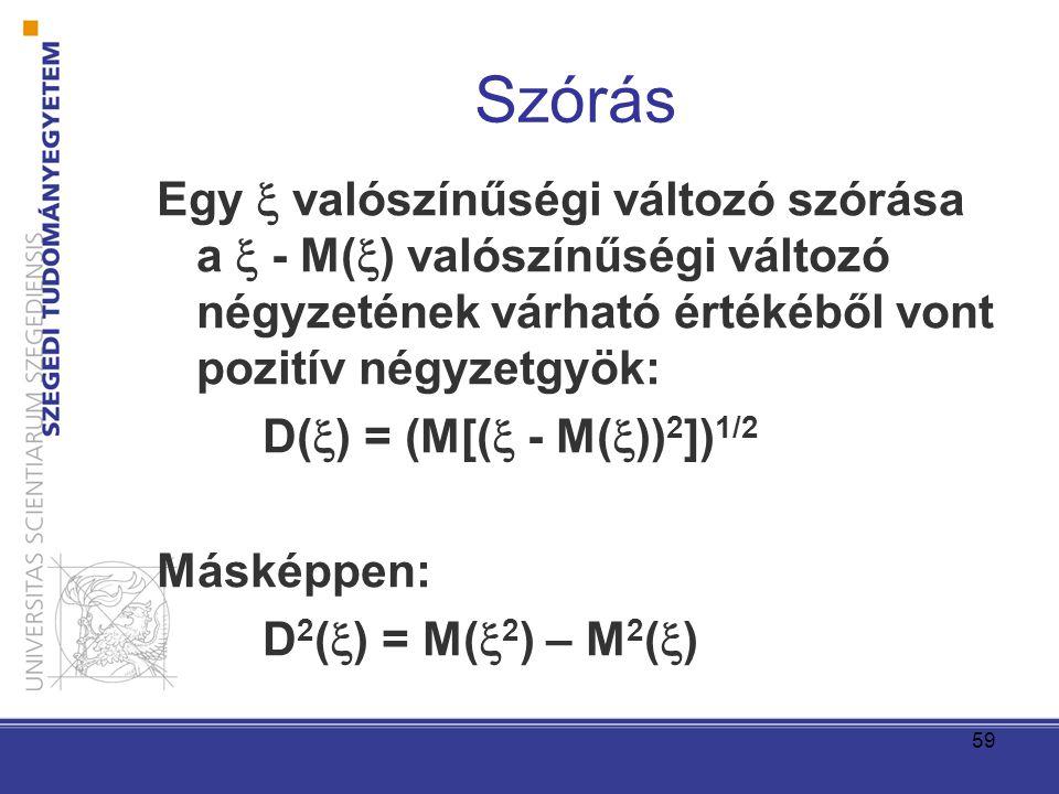 Szórás Egy  valószínűségi változó szórása a  - M() valószínűségi változó négyzetének várható értékéből vont pozitív négyzetgyök: