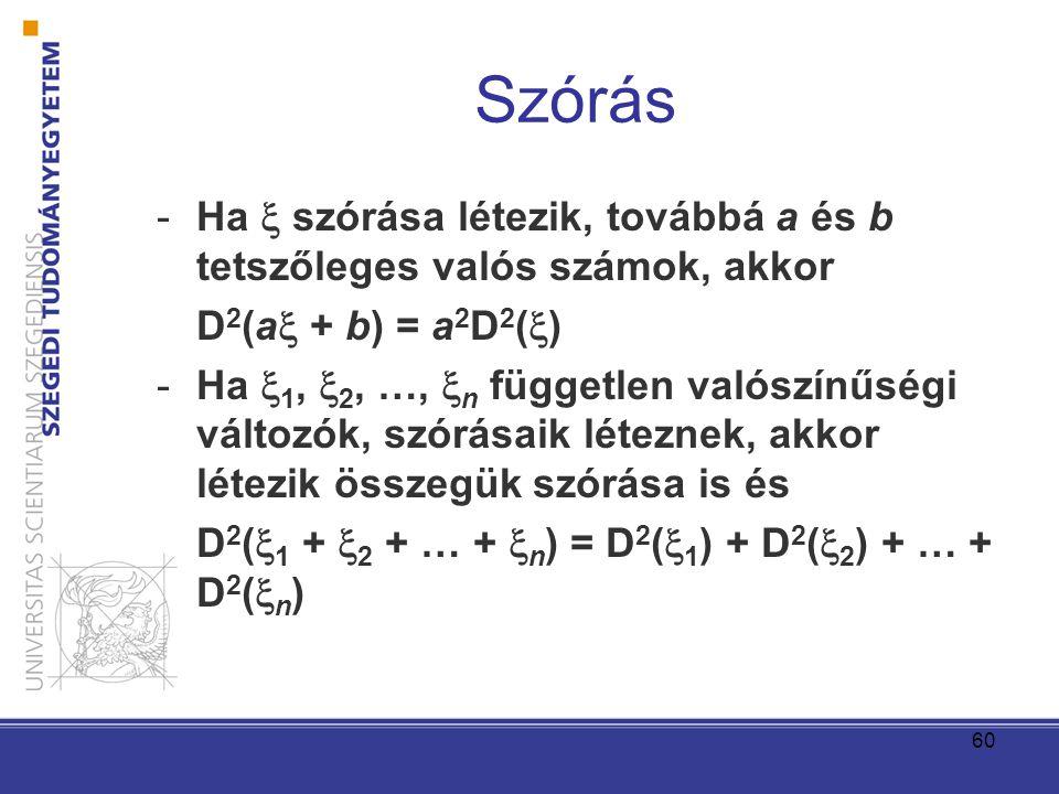 Szórás Ha  szórása létezik, továbbá a és b tetszőleges valós számok, akkor. D2(a + b) = a2D2()