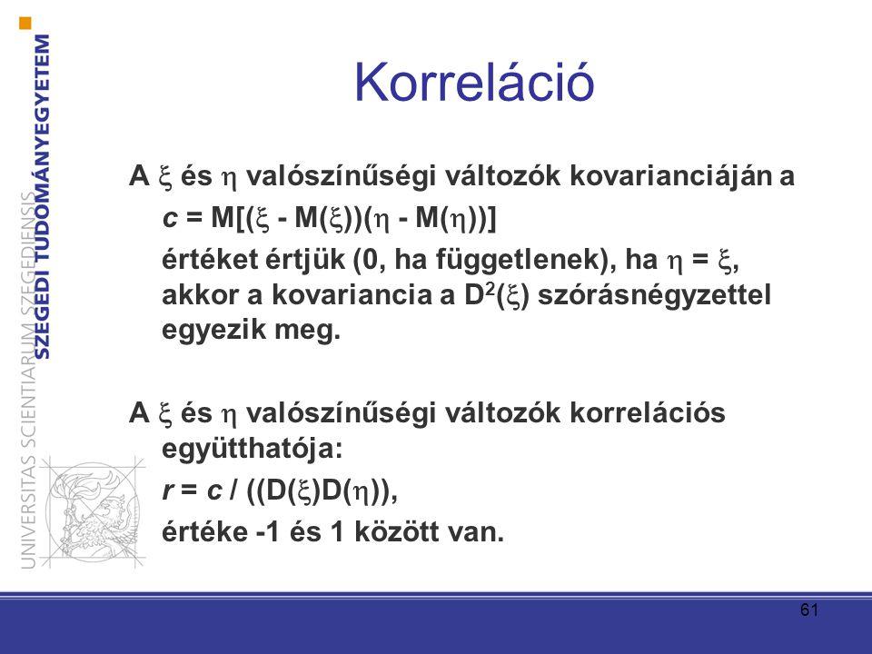 Korreláció A  és  valószínűségi változók kovarianciáján a