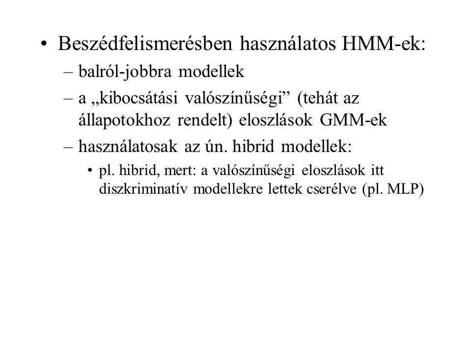 Beszédfelismerésben használatos HMM-ek: