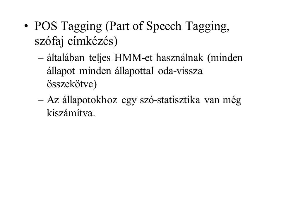 POS Tagging (Part of Speech Tagging, szófaj címkézés)