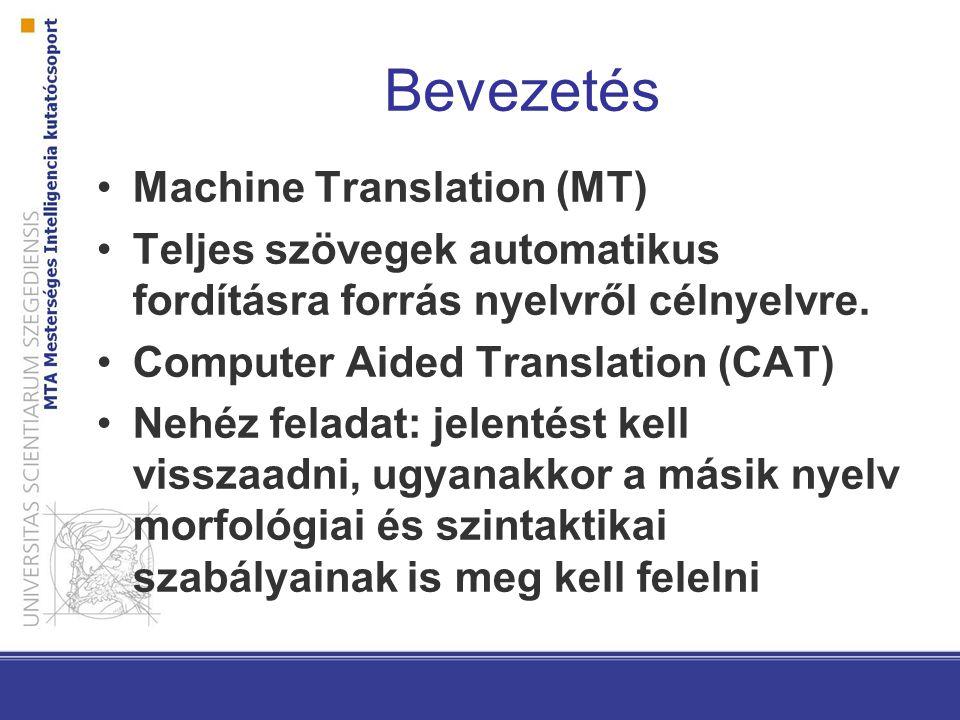 Bevezetés Machine Translation (MT)