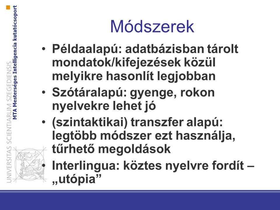 Módszerek Példaalapú: adatbázisban tárolt mondatok/kifejezések közül melyikre hasonlít legjobban. Szótáralapú: gyenge, rokon nyelvekre lehet jó.