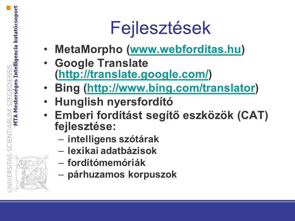 Fejlesztések MetaMorpho (www.webforditas.hu)