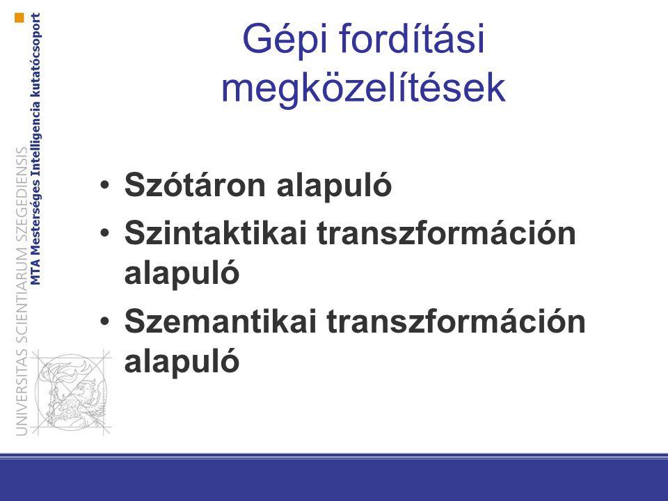 Gépi fordítási megközelítések