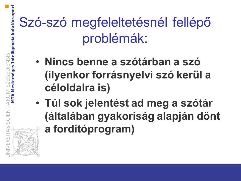 Szó-szó megfeleltetésnél fellépő problémák: