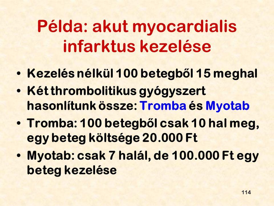 Példa: akut myocardialis infarktus kezelése