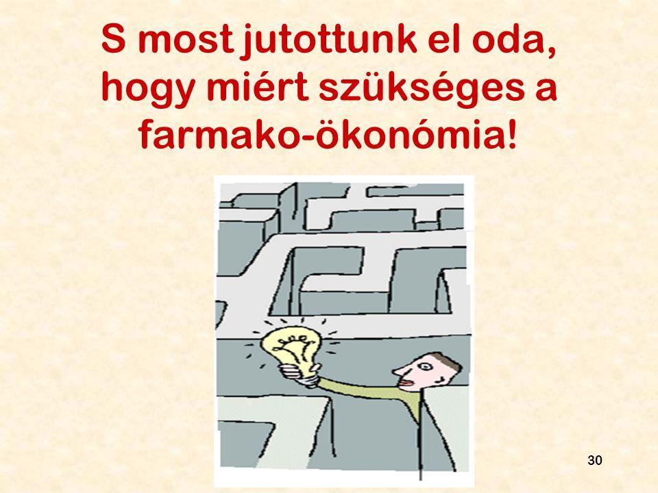 S most jutottunk el oda, hogy miért szükséges a farmako-ökonómia!