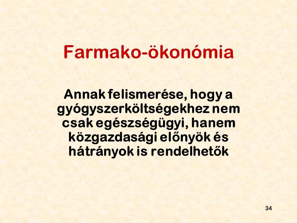 Farmako-ökonómia Annak felismerése, hogy a gyógyszerköltségekhez nem csak egészségügyi, hanem közgazdasági előnyök és hátrányok is rendelhetők.