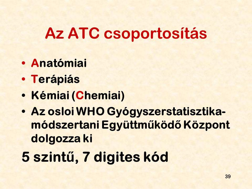 Az ATC csoportosítás 5 szintű, 7 digites kód Anatómiai Terápiás
