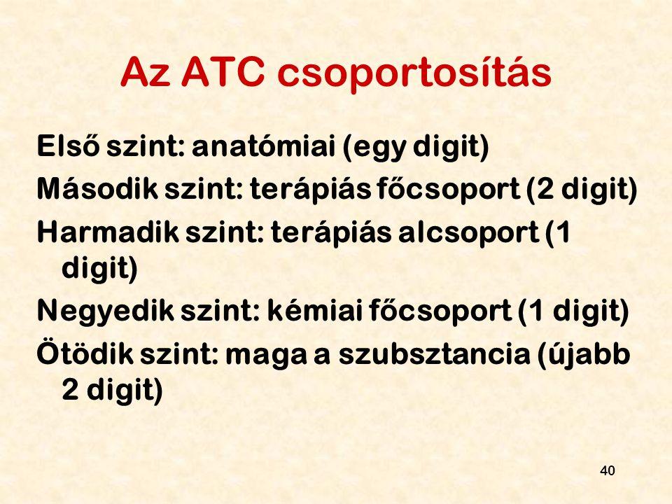 Az ATC csoportosítás Első szint: anatómiai (egy digit)