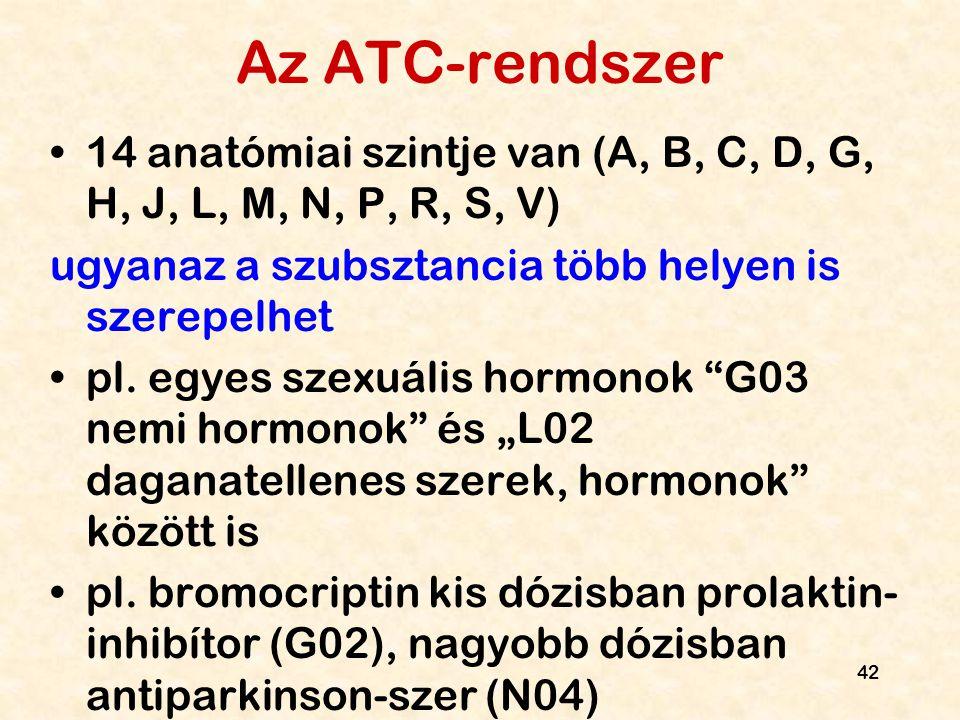 Az ATC-rendszer 14 anatómiai szintje van (A, B, C, D, G, H, J, L, M, N, P, R, S, V) ugyanaz a szubsztancia több helyen is szerepelhet.