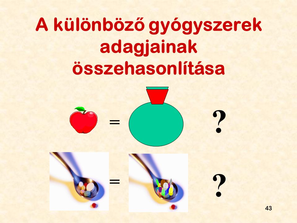 A különböző gyógyszerek adagjainak összehasonlítása