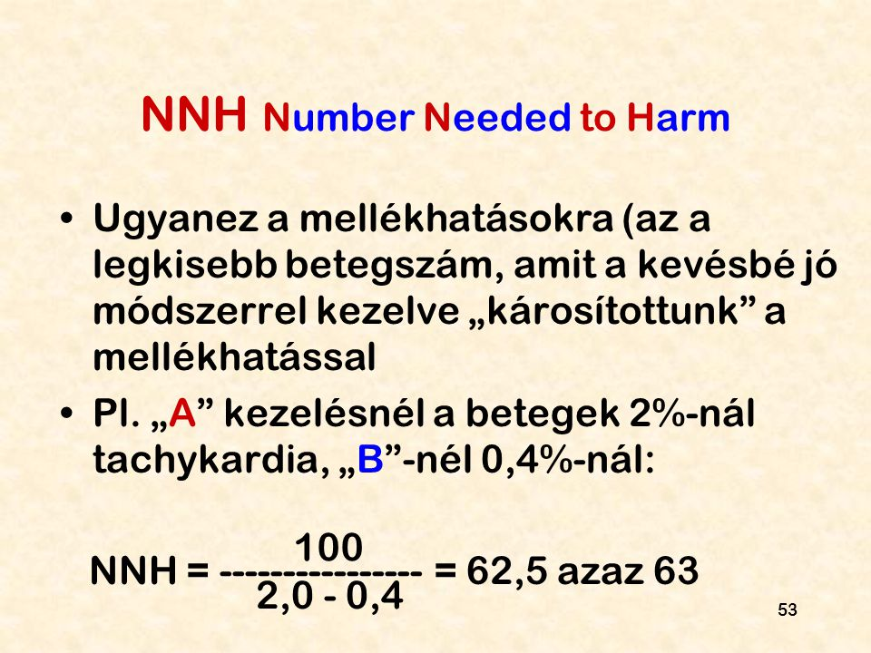 NNH Number Needed to Harm