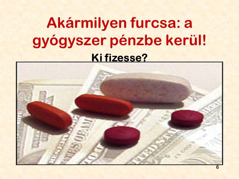 Akármilyen furcsa: a gyógyszer pénzbe kerül!
