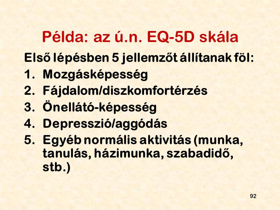 Példa: az ú.n. EQ-5D skála Első lépésben 5 jellemzőt állítanak föl: