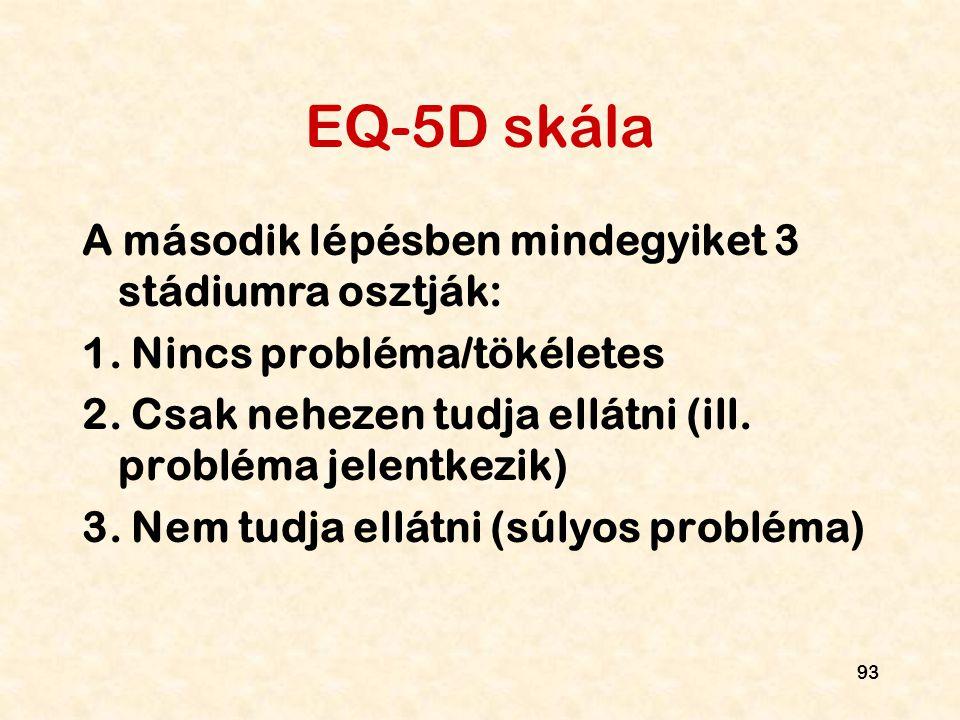 EQ-5D skála A második lépésben mindegyiket 3 stádiumra osztják: