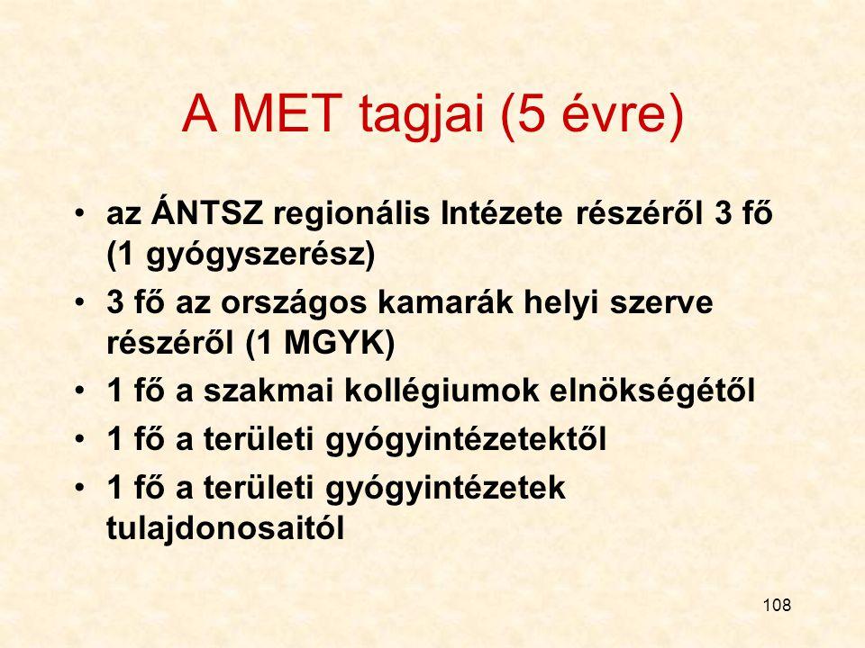 A MET tagjai (5 évre) az ÁNTSZ regionális Intézete részéről 3 fő (1 gyógyszerész) 3 fő az országos kamarák helyi szerve részéről (1 MGYK)