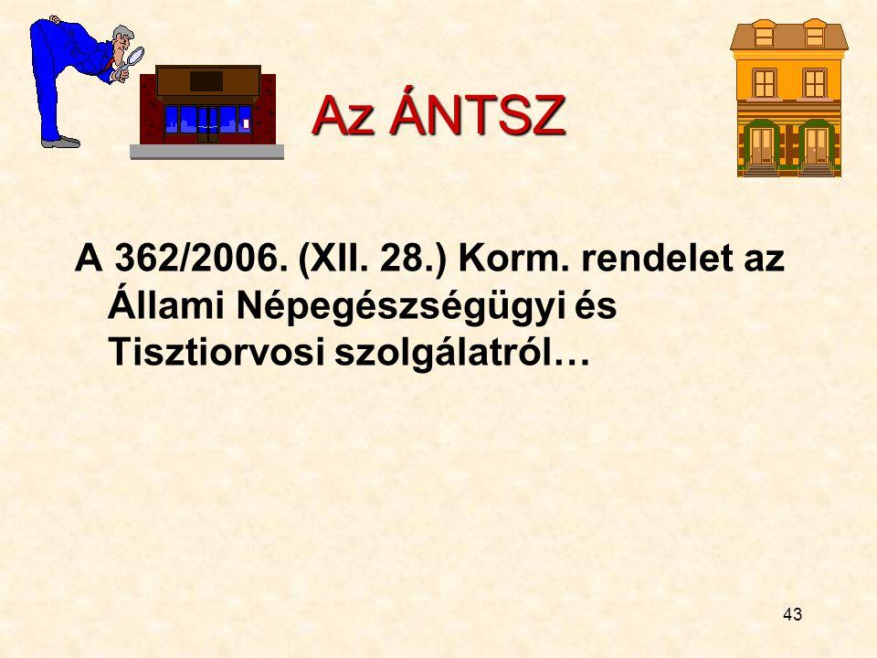 Az ÁNTSZ A 362/2006. (XII. 28.) Korm.