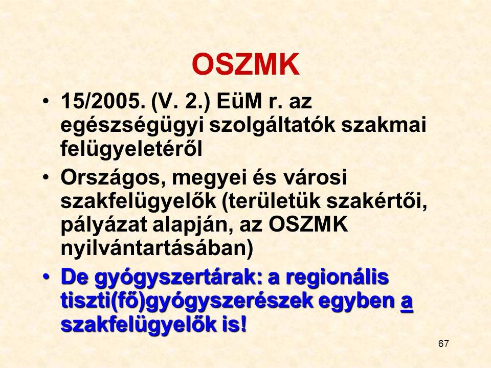 OSZMK 15/2005. (V. 2.) EüM r. az egészségügyi szolgáltatók szakmai felügyeletéről.