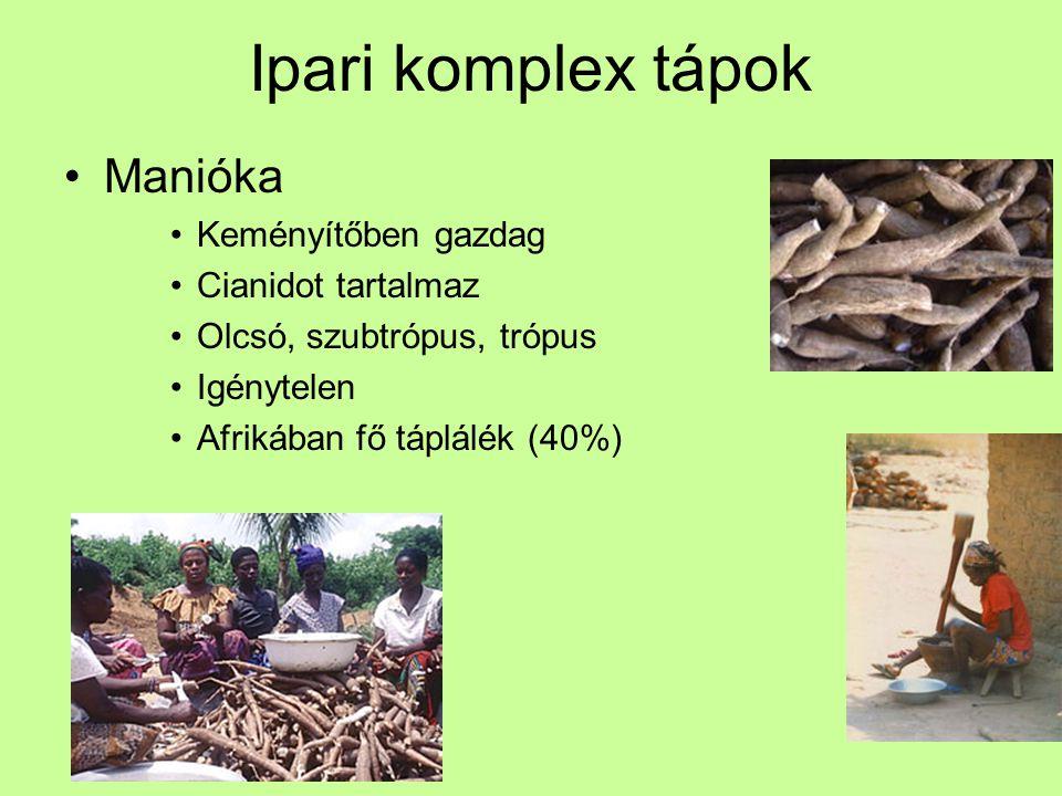 Ipari komplex tápok Manióka Keményítőben gazdag Cianidot tartalmaz
