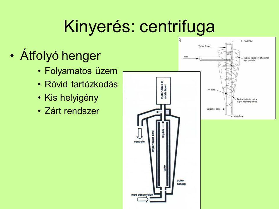 Kinyerés: centrifuga Átfolyó henger Folyamatos üzem Rövid tartózkodás