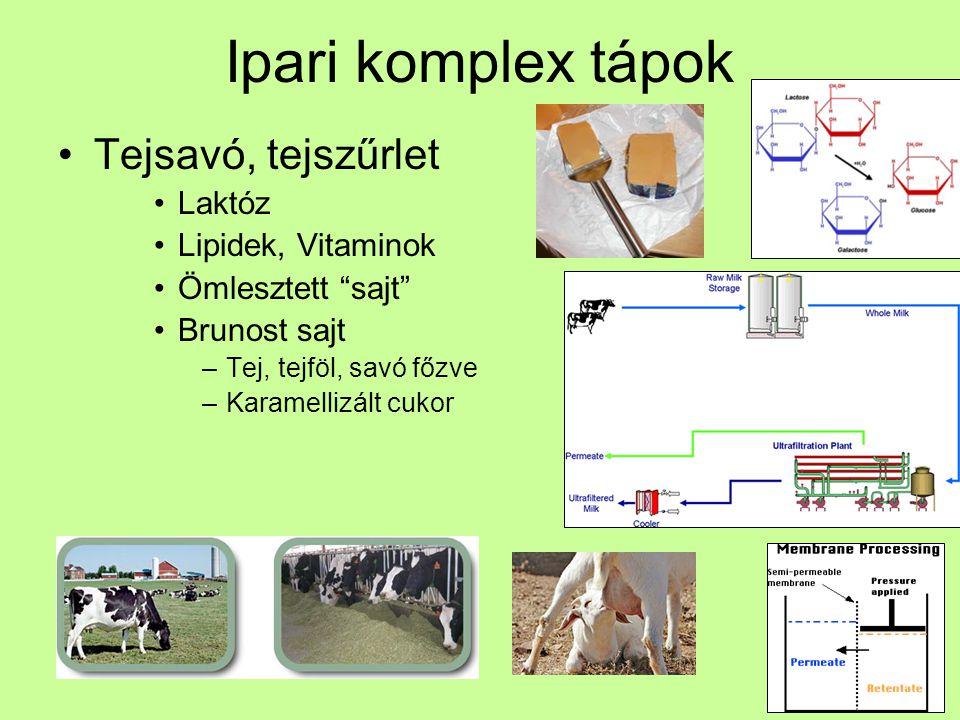 Ipari komplex tápok Tejsavó, tejszűrlet Laktóz Lipidek, Vitaminok